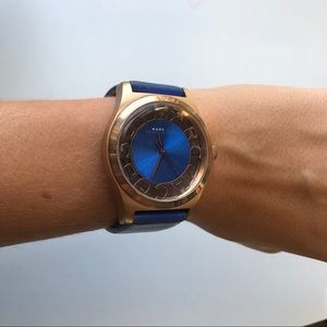Marc by Marc Jacobs Blue/Gold Leather Watch